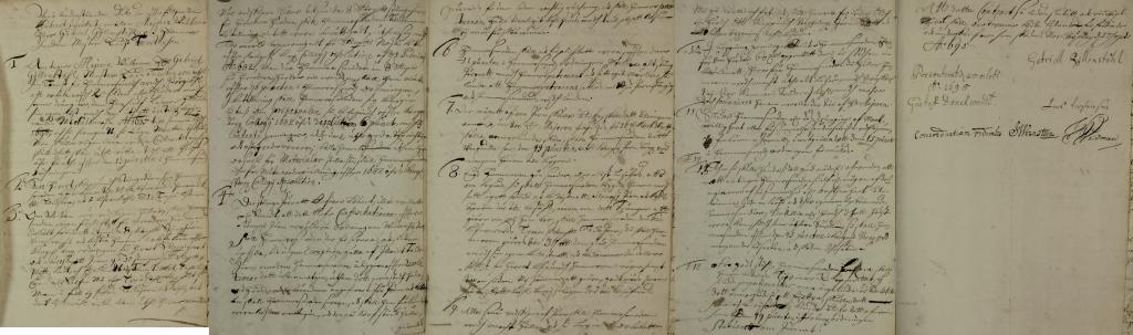 Gabriel Gyllenståhls kontrakt med hammarsmedmästaren Lars Torstensson på Börgöls Bruk 1695.