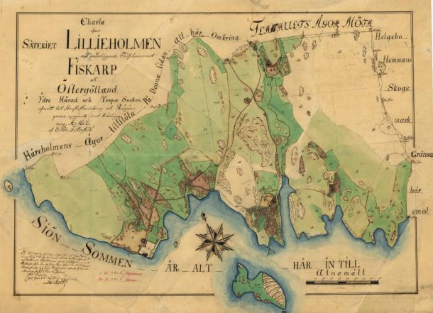 Liljeholmen and environs 1808. Source: Lantmäteriet.