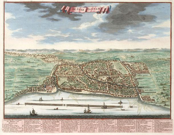 The city of Bantam in 1724. It no longer exists today.