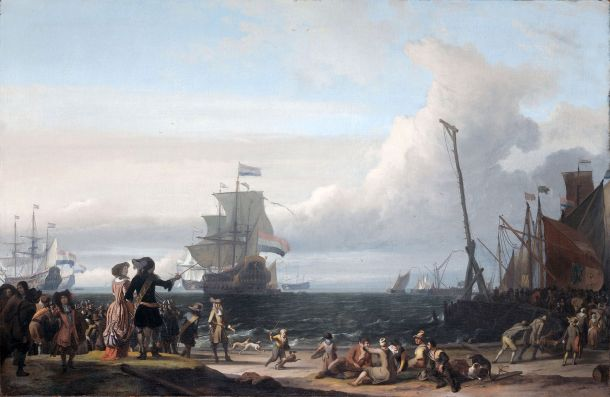 Dutch ships waiting by Texel. Painting by Ludolf Backhuysen 1671.