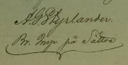 Abels namnteckning 1852 när hans svåger dött.