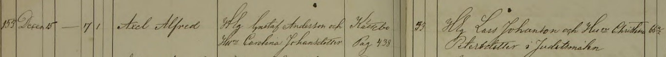 Axel Alfreds dop 1865. Vittnen: H.Eg. Lars Johansson och Huru Christina Petersdotter i Juditsmålen. Säby församling.