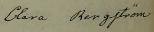 Claras namnteckning när hennes man dött 1853.