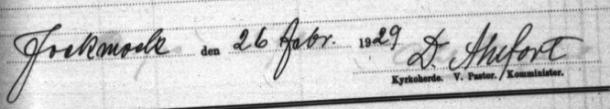 Davids namnteckning 1929.