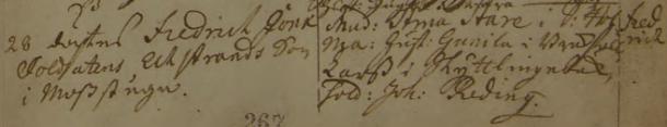 Fredrik Jonæ soldatens Echstrands son i Mosstugan döps 1731. Vittnen: Mad. Stina St[r]åle i S. Holma, hust. Gunila i Brokafall, Lars i Skyttlingebeck, sold. Joh. Reding. Askeryds församling.