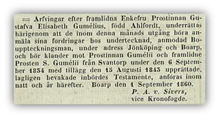 Arvingar till Gustava efterlyses. Post- och Inrikes Tidningar 15/9 1860.
