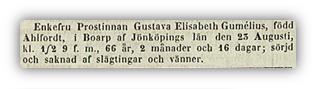 Gustava Gumelius dod 1860