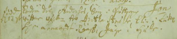 Jonas Anderssons dop 1700 på Bötterarp. Text: Eodem die, Anderses Son i Böttrarp Jon. Wittnen: Wälbne fru Britha Stråhle, Elin i Lycke, Hr Lennardt Rääf, Inge i Lycke. Asby församling.
