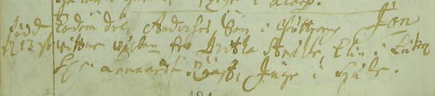 Jonas Anderssons dop 1700 på Bötterarp. Text: Eodem die, Anderses Son i Böttrarp Jon. Wittnen: Wälbne fru Britha Stråhle, Elin i Lutarp, Hr Lennardt Rääf, Inge i Lycke. Asby församling.