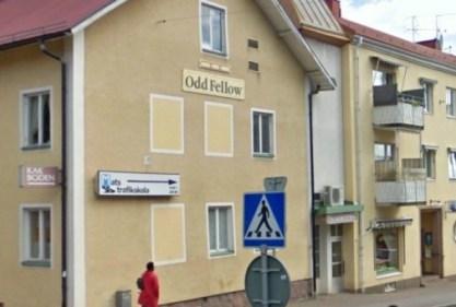 Kakboden på Falkgatan 7 i Tranås i dag, med ingång i mellanhuset.