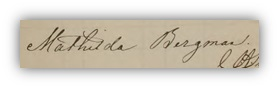 Mathildas namnteckning när fadern dog 1868.