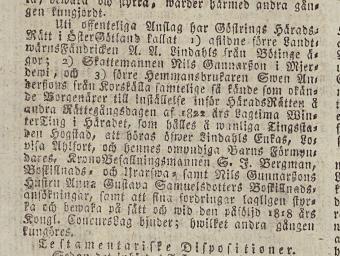 Inkallan till laga skifte efter A. A. Lindahl i Post- och Inrikestidningar 4/9 1821.