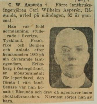 Nekrolog i Svenska Dagbladet 16/4 1940.