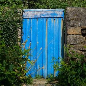 Old blue door in Morbihan, Brittany France