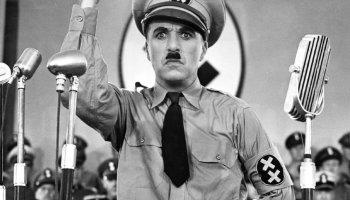 The Great Dictator - where Charlie Chaplin mocks Nazism in general, and Adolph Hitler in particular