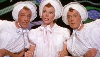 """The manic trio """"Triplets"""" (with Fred Astaire, Nanette Fabray, and Jack Buchanan in matching baby outfits"""