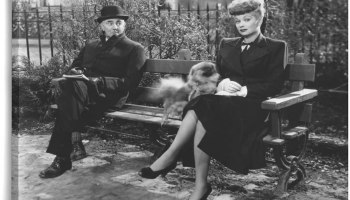 Officer Barrett (George Zucco) meets the undercover Sandra Carpenter (Lucille Ball) at the park