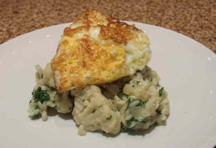 cauliflower risotto with crispy egg