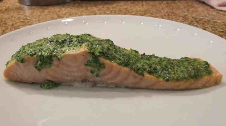 Tastes as good as it looks - salmon fillet topped with a creamy parsley crust