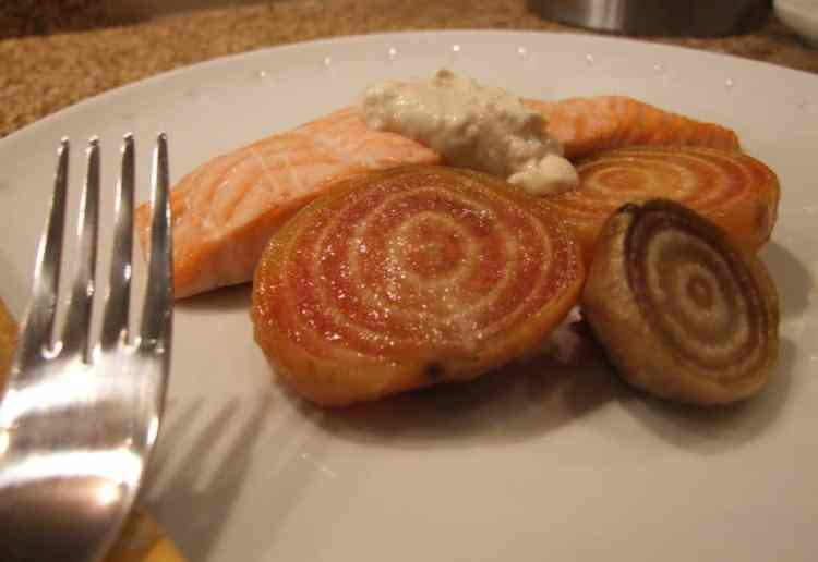 Salmon with roasted chioggia beetroots and horseradish cream