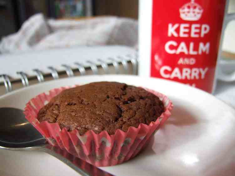 Nutella cupcake with a mug of tea.