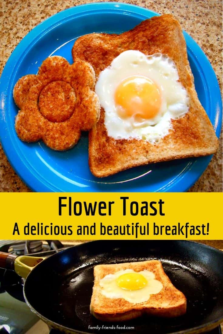 Fried egg and toast is transformed into a beautiful 'flower toast' to brighten your breakfast or lunch! This 'egg in the basket' is loved by everyone.