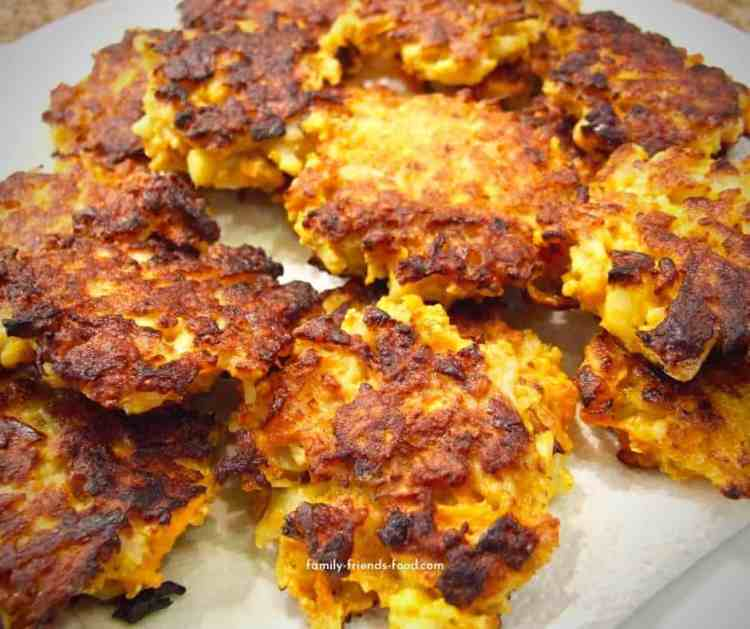 curried carrot and cauliflower fritters
