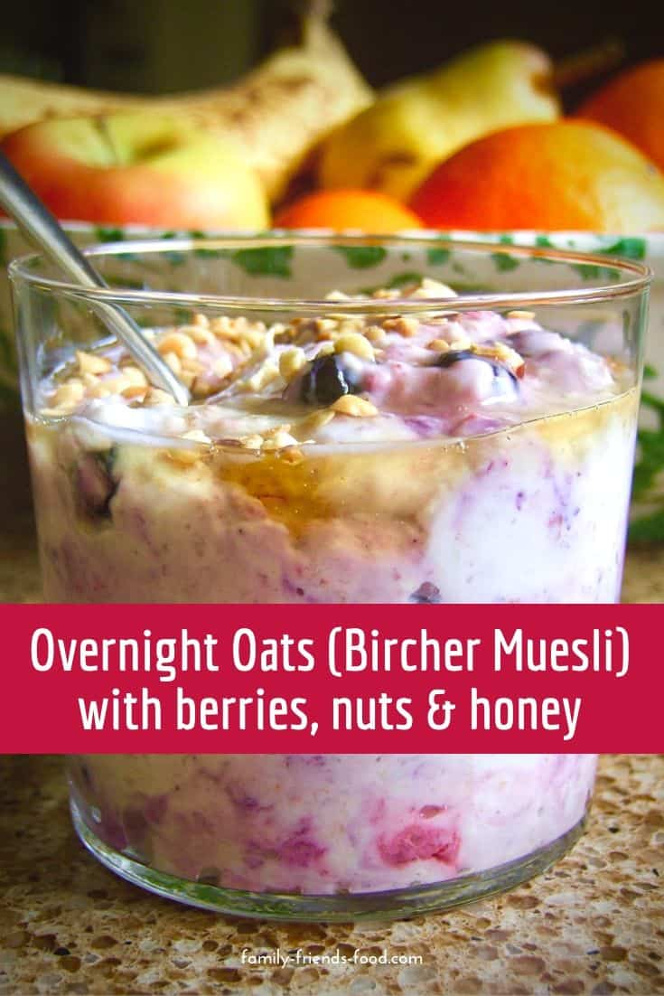 Bircher muesli - also called overnight oats. A delicious and healthy breakfast of oats, fruit and yogurt topped with nuts and honey or agave syrup.