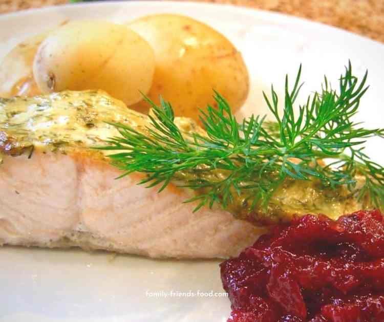 mustard dill salmon with lingonberry sauce.