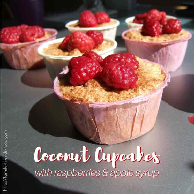 Drenched in fruity syrup and topped with raspberries, these coconut cupcakes are moist and delicious. A gluten-free treat that everyone will enjoy :-)