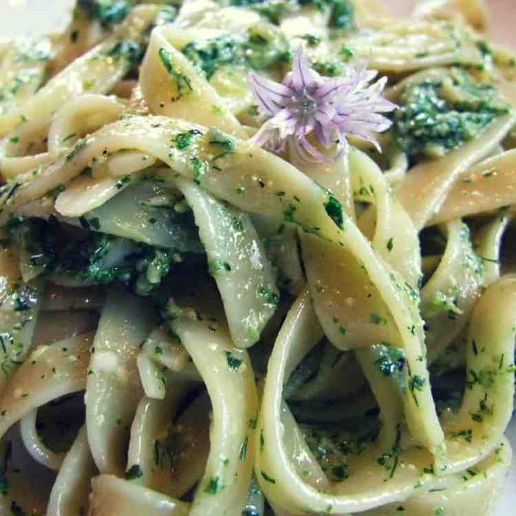Tagliatelle with garden herb pesto (and a chive flower garnish).