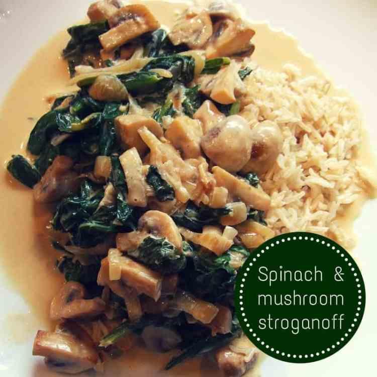 spinach & mushroom stroganoff