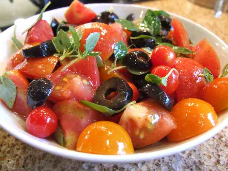 tomato salad with olives, greek basil and sumac