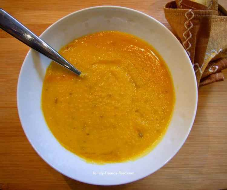 Roasted butternut squash and red lentil soup.
