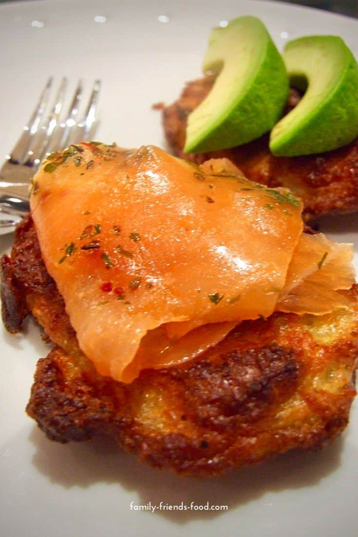 latkes with smoked salmon and avocado