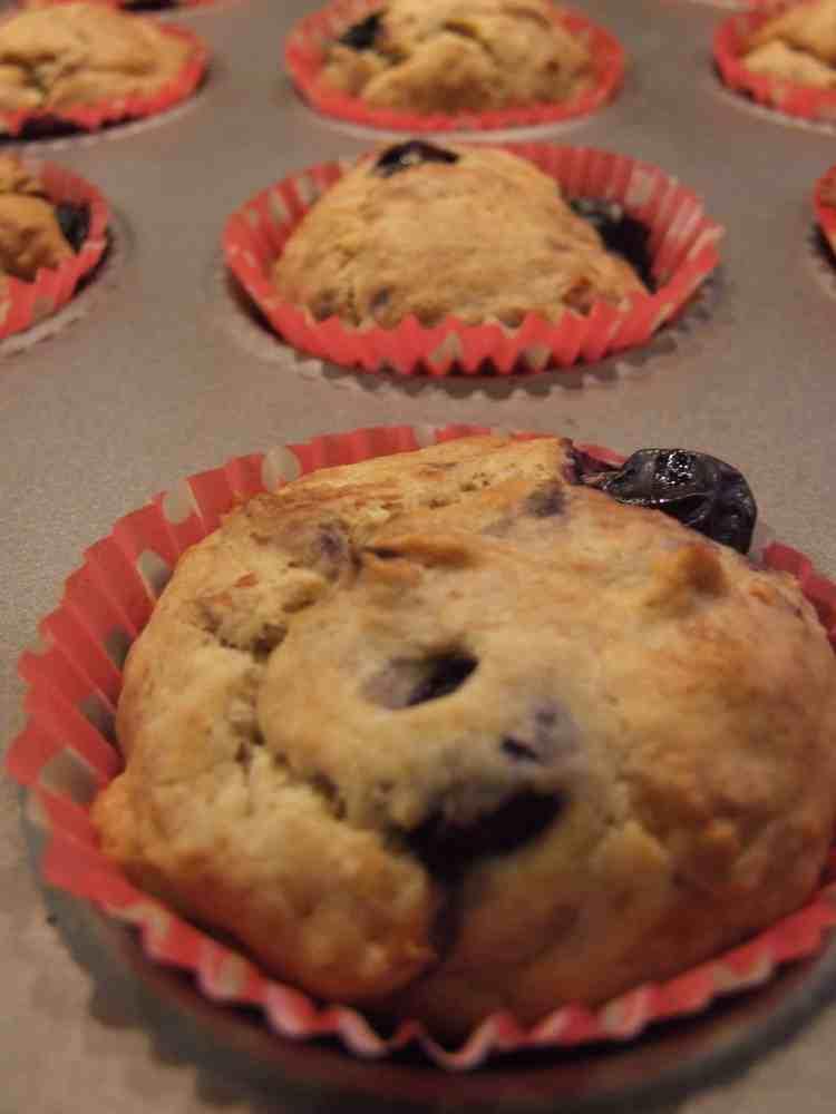 naturally sweet no-added-sugar banana & blueberry muffins