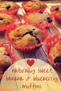 banana & blueberry muffins - no added sugar