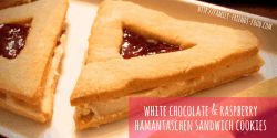 white chocolate & raspberry hamantaschen sandwich cookies