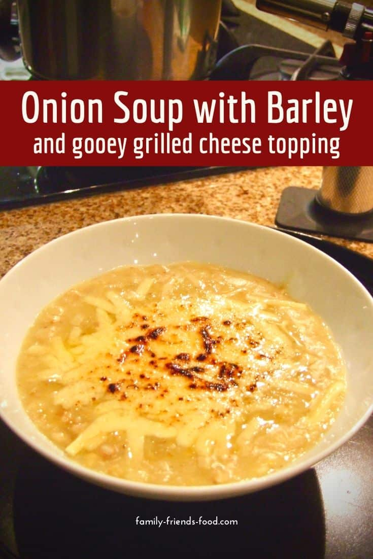 Onion soup with barley and melted cheese. A thick and delicious meal-in-a-bowl, this wonderful onion soup enriched with nutritious grains, is topped with melted cheese for an indulgent winter treat.