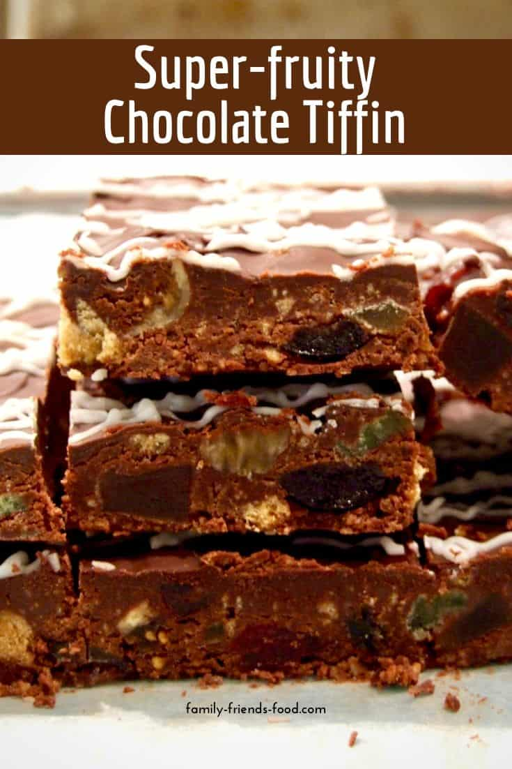 Rich and buttery, this dark chocolate tiffin is bursting with dried and candied fruits. A real treat for adults and kids alike. Delicious!