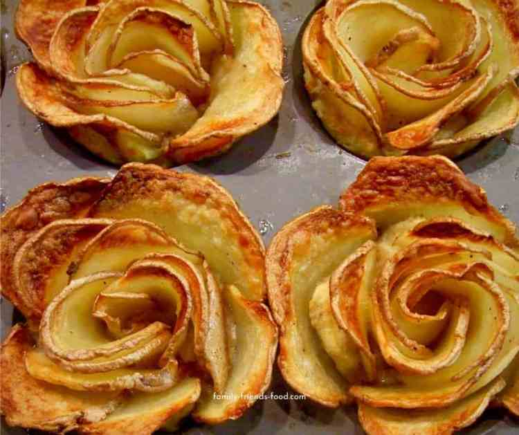 potato roses fresh from the oven.