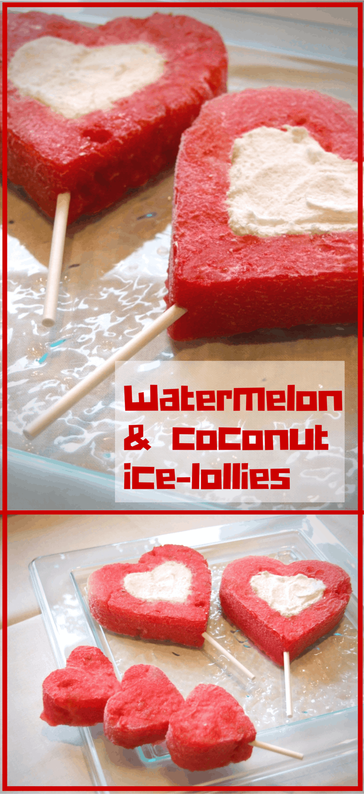 Refreshing heart-shaped watermelon ice-pops filled with creamy frozen coconut yogurt are the perfect way to celebrate Tu B'Av - the Jewish festival of LOVE!