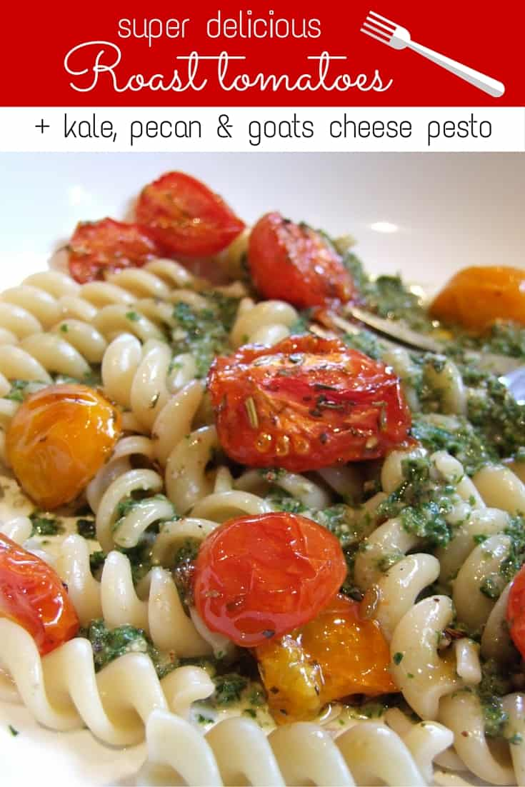 Sweet, soft & delicious roasted tomatoes with herbs & olive oil are a perfect complement to pasta & nutrient packed kale pesto. A wonderful vegetarian meal.