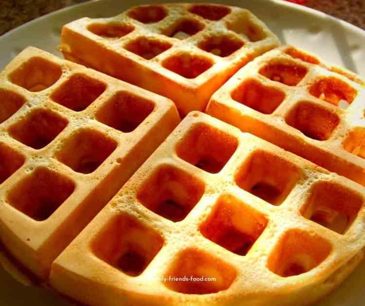golden crispy waffles.