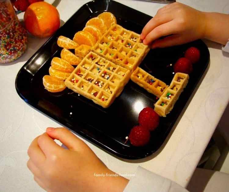 Menorah waffles - quick and easy Chanukah breakfast.
