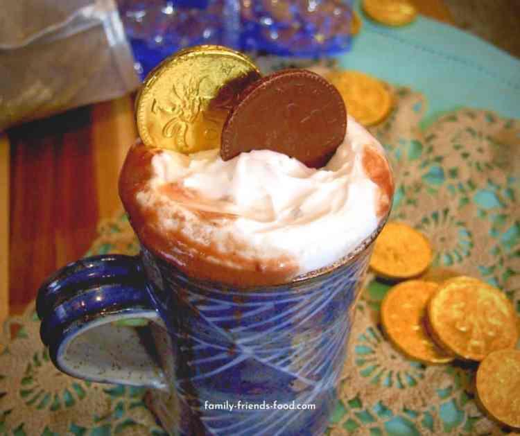 Chanukah gelt hot chocolate.