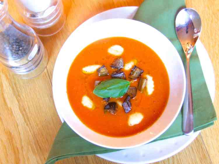 Creamy tomato soup with gnocchi and aubergine croutons