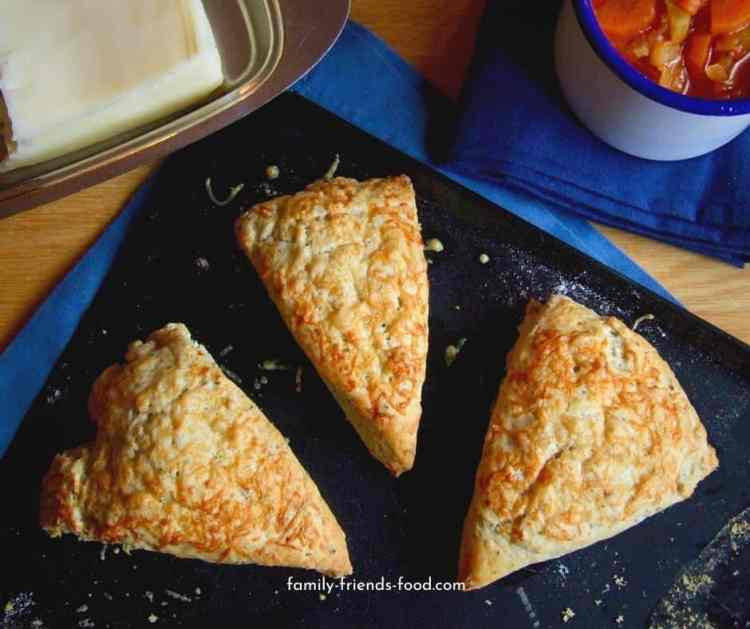 Herb and cheese scones with a mug of soup.