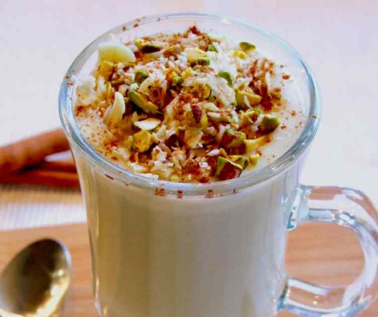 Rich, creamy & delicious, topped with nuts and cinnamon, sahlab is a luxurious cold weather treat. Say 'I love you' with a cup of this glorious hot drink ❤️