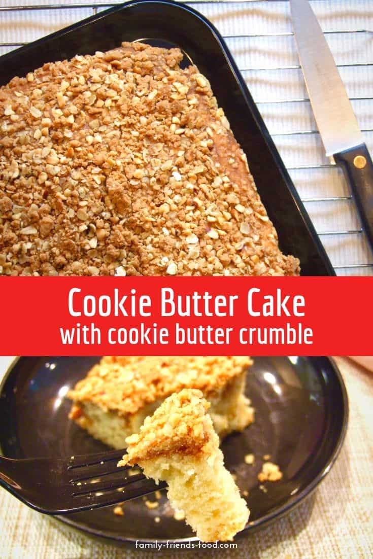 cookie butter cake with cookie butter crumble topping.